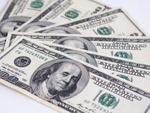 Banconota americana dei dollari del primo piano Cento banconote del dollaro Immagini Stock Libere da Diritti
