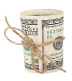 Banconota cento dollari, legati con una corda con un arco Fotografia Stock Libera da Diritti