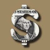 Banconota del dollaro sul simbolo del dollaro Fotografia Stock Libera da Diritti