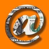 Banconota del dollaro sul simbolo del email del email Fotografia Stock Libera da Diritti