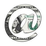 Banconota del dollaro sul simbolo del email del email Fotografia Stock