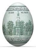 banconota del lato posteriore dei 100 dollari nella figura dell'uovo. illustrazione di stock