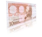 Banconota dell'euro 10 con la riflessione fotografia stock