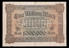 Banconota della repubblica di Weimar. 1923. Complemento. Immagini Stock Libere da Diritti