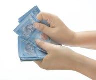 Banconota di conteggio Fotografia Stock Libera da Diritti