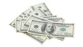 Banconota in dollari americana dei soldi cento isolata su fondo bianco Banconota degli Stati Uniti 100 del mucchio immagine stock