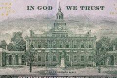 Banconota in dollari degli Stati Uniti 100, lato posteriore Fotografie Stock Libere da Diritti