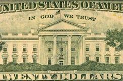 Banconota in dollari degli Stati Uniti 100, lato posteriore Fine in su Fotografie Stock