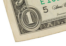 Banconota in dollari degli Stati Uniti uno, fine su Fotografie Stock Libere da Diritti