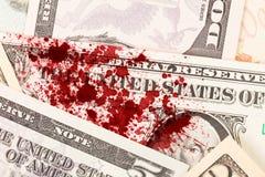 Banconota in dollari degli Stati Uniti uno, fine su, sangue Fotografie Stock