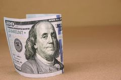 Banconota in dollari di U.S.A. di nuovo cento Fotografia Stock Libera da Diritti