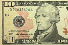 banconota in dollari dieci Fotografia Stock Libera da Diritti