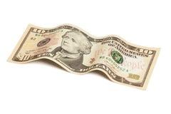 Banconota in dollari dieci isolata con il percorso di ritaglio Immagini Stock Libere da Diritti