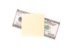 Banconota in dollari e posta appiccicosa Immagine Stock