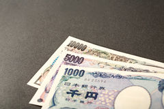 Banconota giapponese 10000 Yen 5000 Yen e 1000 Yen Fotografia Stock Libera da Diritti