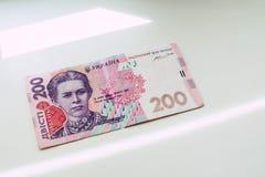 Banconota in 200 hryvnias ucraini immagini stock