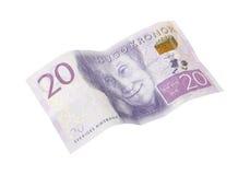 Banconota svedese 20 corone svedesi Fotografia Stock Libera da Diritti