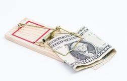 Banconota in trappola per topi Fotografia Stock