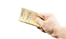 Banconota in una denominazione dell'euro 50 a disposizione Immagini Stock Libere da Diritti