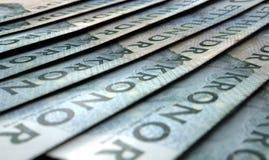 Banconote allineate del primo piano Fotografia Stock