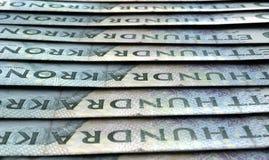 Banconote allineate del primo piano Immagini Stock Libere da Diritti