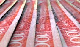 Banconote allineate del primo piano Immagini Stock