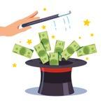 Banconote che volano dal cappello del cilindro dei maghi illustrazione di stock