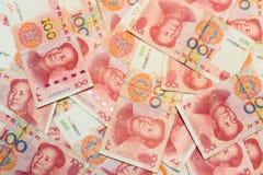 banconote cinesi di yuan del Ne cento come fondo Immagini Stock