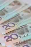 Banconote cinesi di yuan (Renminbi) per soldi e il conce di affari Fotografie Stock Libere da Diritti