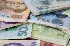 Banconote cinesi di yuan (Renminbi) per soldi e il conce di affari Immagini Stock Libere da Diritti
