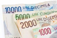 Banconote dall'Italia Lira italiana 10000, 5000, 2000, 1000 Fotografie Stock Libere da Diritti