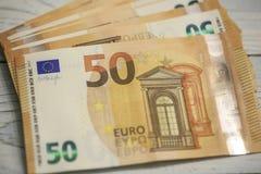 50 banconote degli euro Fotografie Stock