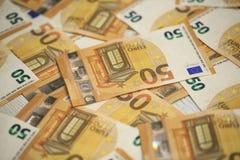 50 banconote degli euro Immagini Stock Libere da Diritti