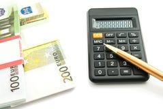 Banconote degli euro e del calcolatore Fotografia Stock Libera da Diritti