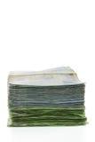 Banconote dei fondi della Tailandia impilate Fotografia Stock Libera da Diritti