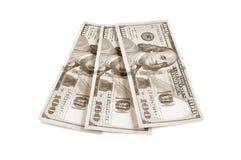 100 banconote del dollaro americano nel retro effetto di seppia Fotografia Stock