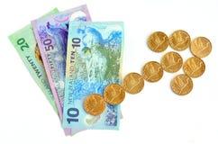 Banconote del dollaro di NZ con la freccia di tendenza al rialzo Immagini Stock Libere da Diritti