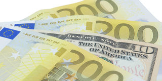 Banconote del dollaro e dell'euro Fotografia Stock