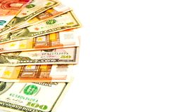 Banconote del dollaro e dell'euro isolate su un fondo bianco Fotografia Stock