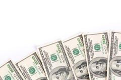 Banconote del dollaro isolate sopra bianco Immagini Stock Libere da Diritti