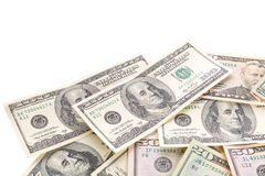 Banconote del dollaro isolate sopra bianco Fotografie Stock