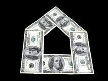 Banconote del dollaro nel modulo della casa Immagini Stock