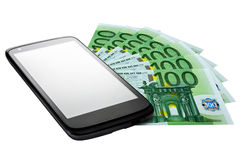 Banconote dell'esposizione in bianco di Smartphone euro isolate Fotografie Stock