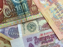 Banconote dell'URSS accumulazione Fondo con i segni dei soldi closeup Immagini Stock Libere da Diritti