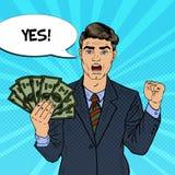 Banconote di Art Rich Businessman Holding Money Dollar di schiocco con il fumetto comico Fotografia Stock