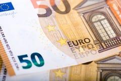 50 banconote di EUR Fotografia Stock