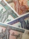 Banconote di kyat del Myanmar Fotografia Stock