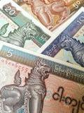 Banconote di kyat del Myanmar Fotografie Stock