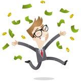 Banconote di lancio dell'uomo d'affari fortunato su Fotografia Stock