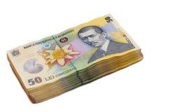 50 banconote di Lei hanno impilato uno un altro Fotografie Stock Libere da Diritti